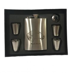 Kit Cantil De Whisky 270ml E 4 Copos Shot Cavalo Crioulo Para Presente