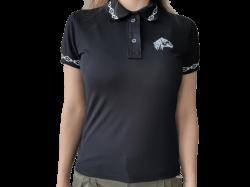 Camisa polo feminina com bordado de cavalo